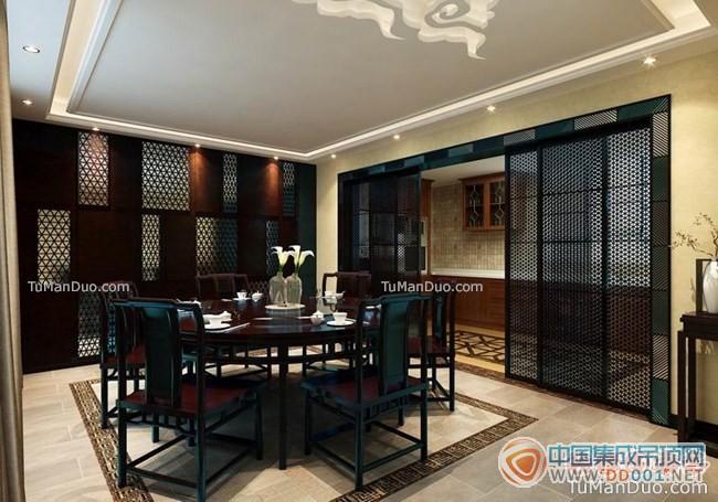新中式效果图新古典中式大户型客厅效果图装饰墙