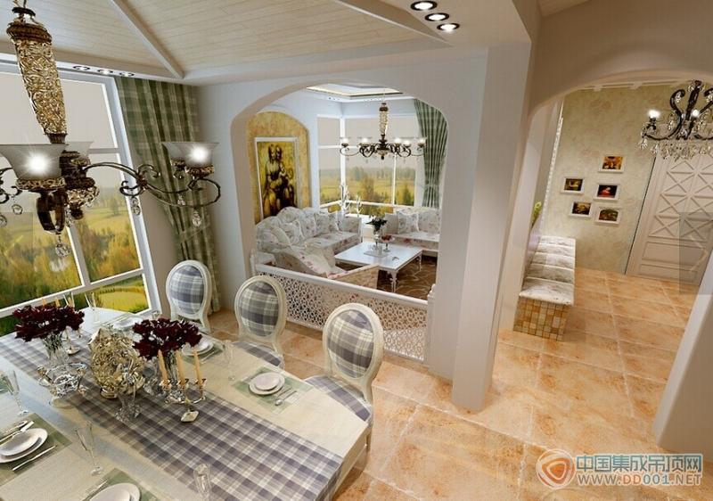 地中海风格客厅吊顶装修效果图|集成吊顶效果图库