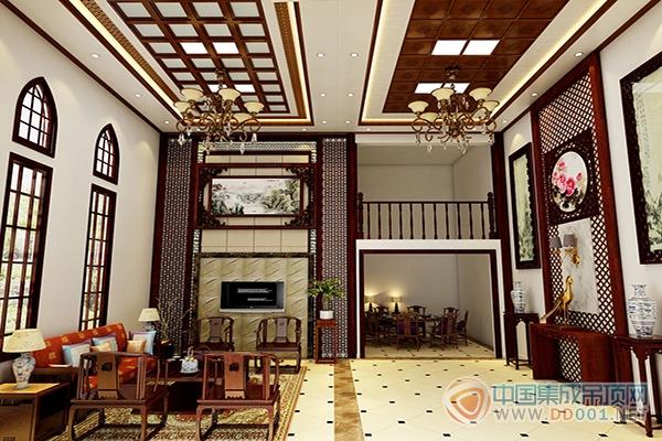 枣红色实木窗户,枣红色的电视背景墙,中式的山水画,典型的中式元素,看