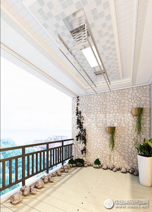 奥华生态集成吊顶阳台晾衣架安装效果图