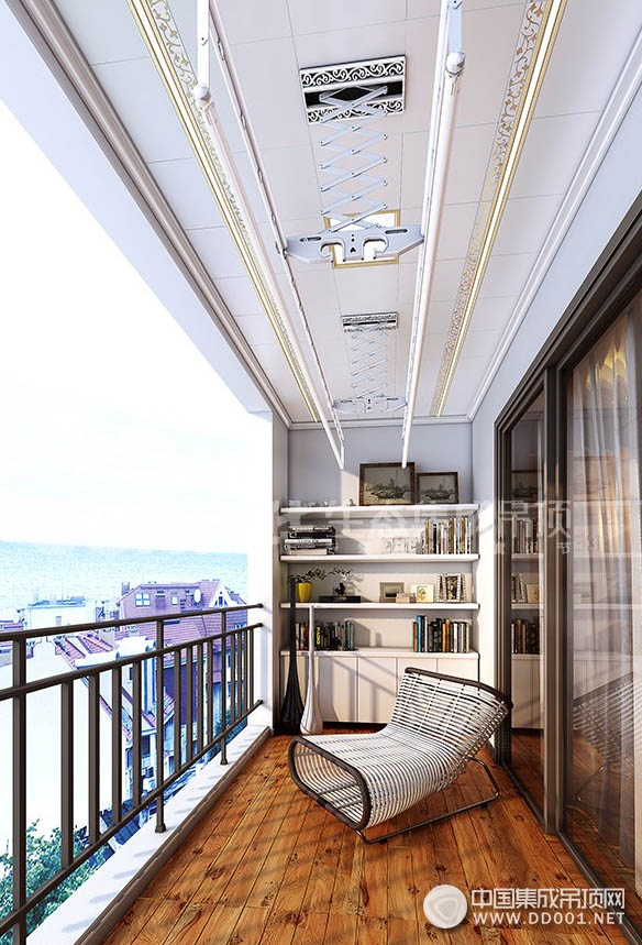 华生态集成吊顶阳台晾衣架安装效果图
