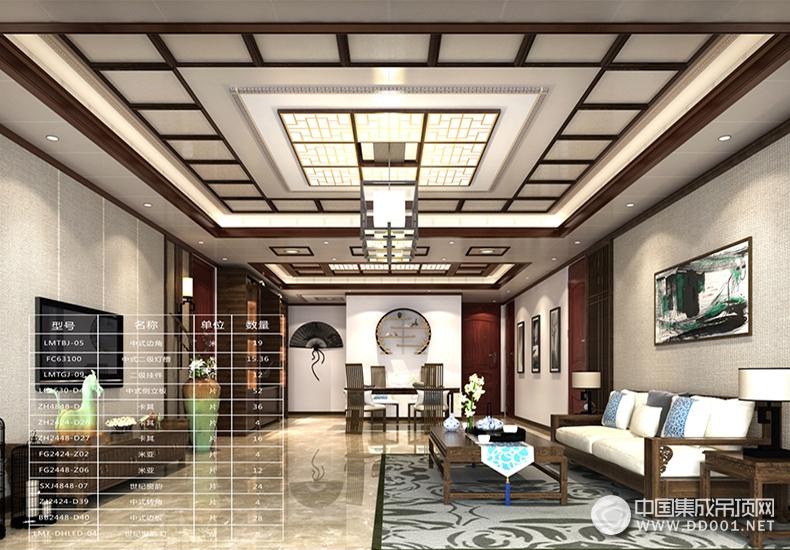 中式雅韵客厅吊顶图片