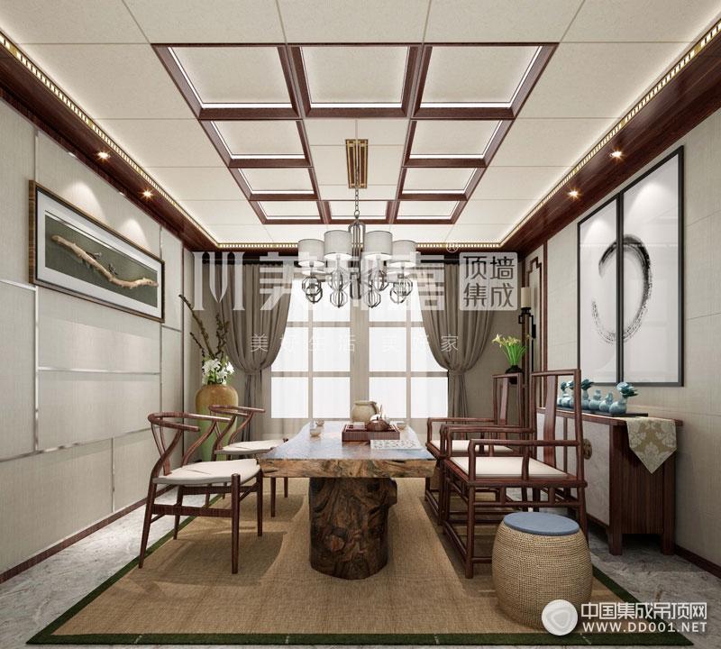 美郝嘉时尚家居顶茶室中式风格装修效果图|集成吊顶