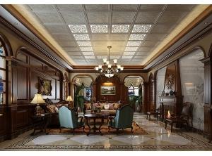美式客厅吊顶装修效果图