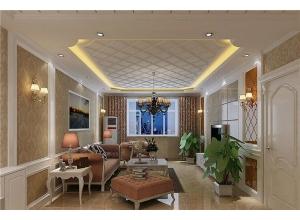 118平高端、时尚简欧风格客厅吊顶效果图
