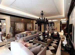 时尚高格现代客厅吊顶沙发背景墙设计图