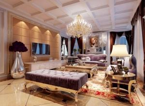 奢华新古典风格客厅吊顶特效图欣赏 (1)