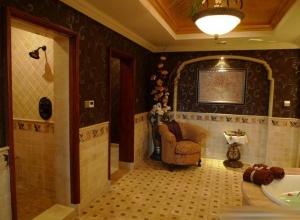 柔美田园美式客厅吊顶壁纸效果图