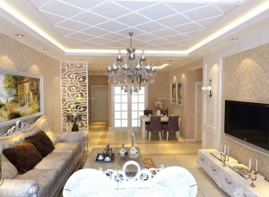 欧式客厅房间吊顶装修效果图 (1)