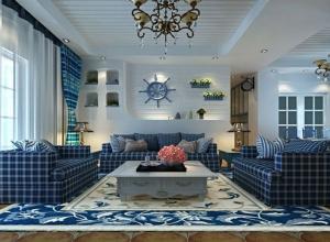 地中海风格三居室客厅吊顶装修效果图大全