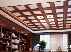 奥华生态顶墙金丝胡桃木中式书房案例 新中式装修效果图