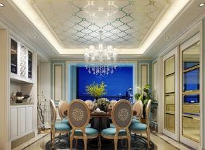 索菲尼洛复式吊顶餐厅装修案例,欧式餐厅装修效果图