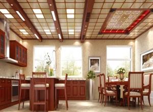 美尔凯特新中式风格厨房吊顶装修效果图