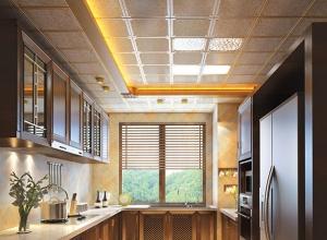 美尔凯特美式风格厨房吊顶装修效果图,美式风厨房吊顶案例