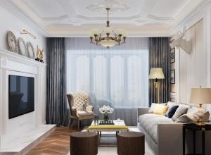 友邦集成吊顶美式风格客厅装修效果图,美式风格客厅案例