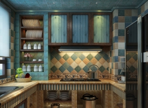 地中海风格厨房吊顶效果效果图,友邦地中海厨房案例