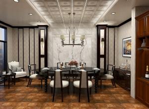 世纪豪门欧式餐厅吊顶装修案例,欧式餐厅装修效果图