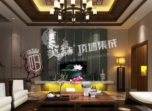 100平方新中式客厅装修效果图,美赫吊顶新中式装修图