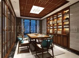 二款新中式风格餐厅吊顶装修效果图,花旗餐厅吊顶赏析