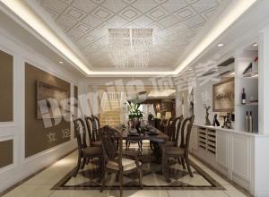 顶善美吊顶美式餐厨一体装修效果图,美式餐厅装修效果图