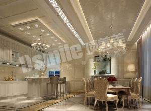 简欧风格餐厅吊顶装修实例图,顶善美欧式餐厅吊顶装修图