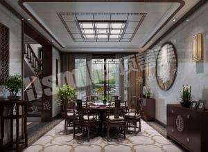顶善美新中式风格餐厅吊顶装修效果图,新中式餐厅吊顶实例