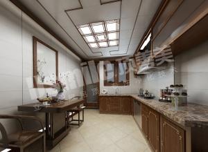 中式厨房吊顶装修效果图,顶善美中式厨房装修图