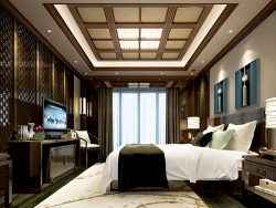 蓝姆特顶墙中式卧室