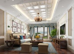 美式吊顶客厅卧室装修效果图,德艺乐家美式吊顶装修图