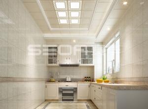 三室一厅138㎡欧式风格装修图,赛华欧式吊顶墙面装修图