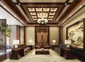中式客厅装修效果图,巴迪斯顶墙客厅装修案例