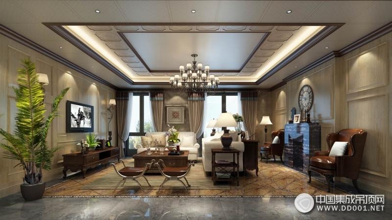 欧式风格客厅吊顶装修效果图,巴迪斯客厅吊顶装修实例