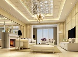 欧式客厅吊顶新装修效果图,海创客厅吊顶欧式风格装修图 (4)