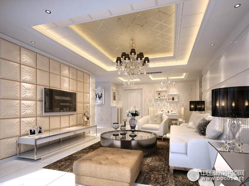 欧式客厅吊顶新装修效果图,海创客厅吊顶欧式风格装修图