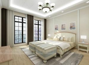 吉象顶墙美式风格卧室装修效果图,美式卧室装修图
