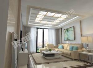 顶善美净化吊顶新现代风格客厅吊顶装修实景图 (9)