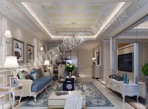 欧式客厅吊顶装修实景图,顶善美欧式客厅吊顶装修图
