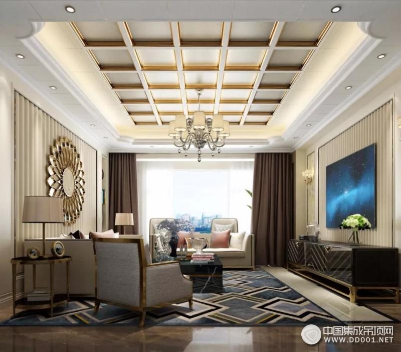 花旗吊顶客厅欧式风装修图,时尚大方、环保健康
