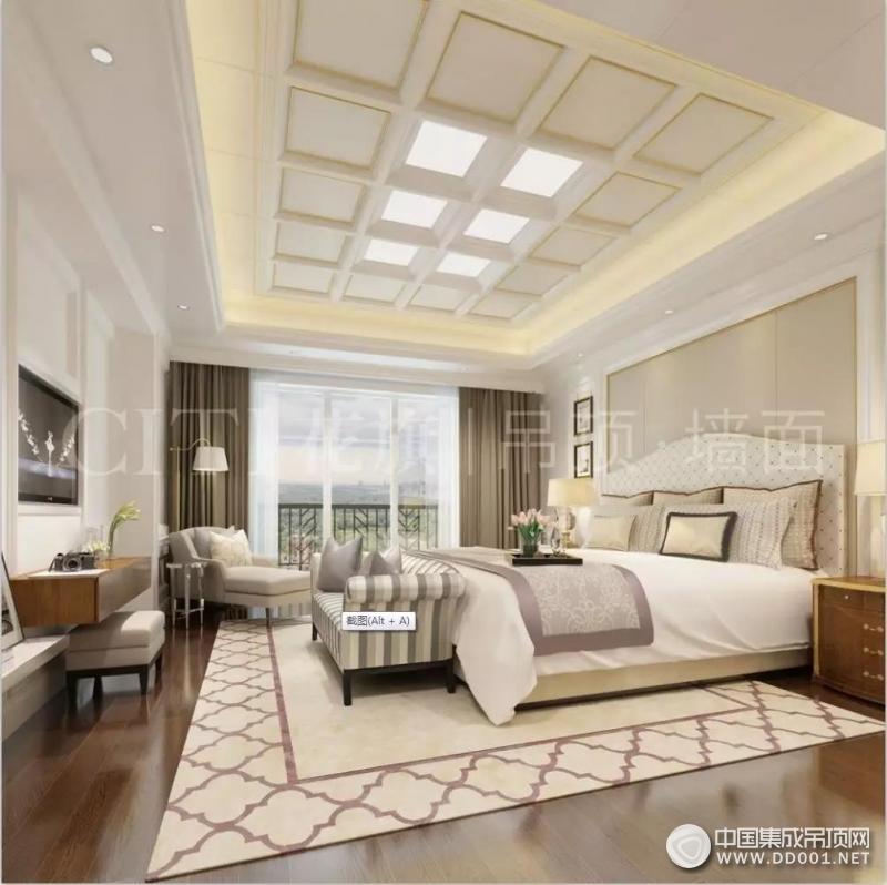 花旗顶墙现代轻奢风卧室吊顶墙面装修效果图