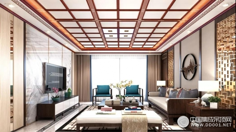 奥华生态顶墙客厅装修效果图,中式风格客厅效果图