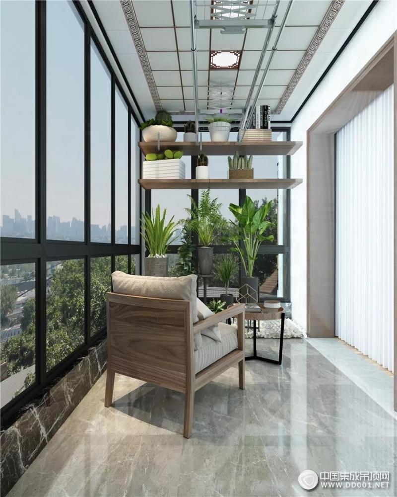德艺乐家吊顶现代风阳台吊顶装修图,惬意的春日时光