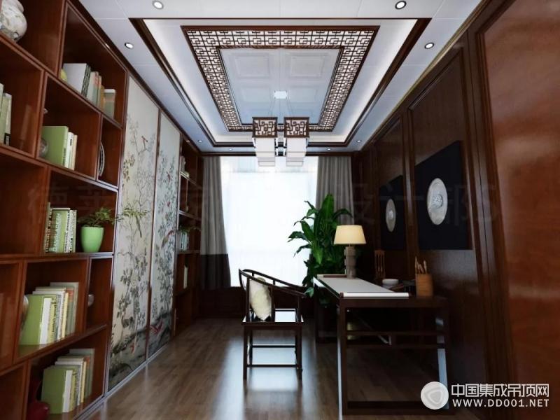 德莱宝集成吊顶中式书房装修效果图,把诗和远方装进家!