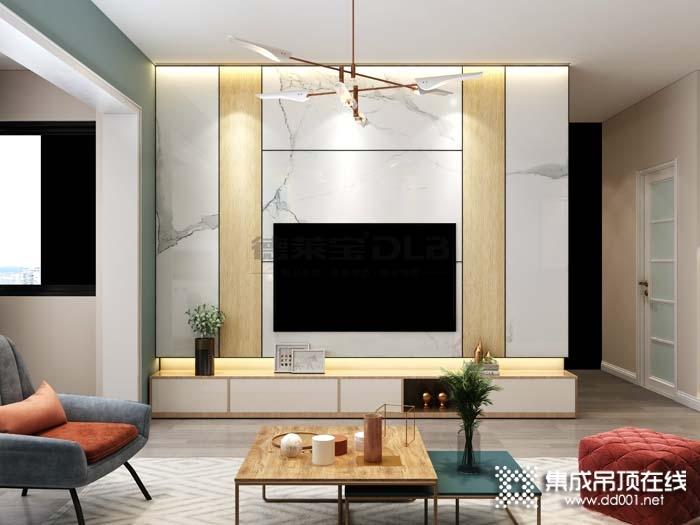 德莱宝无界大板客厅背景墙效果图