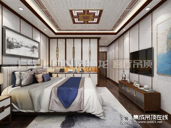 法狮龙集成吊顶图片 新中式卧室装修效果图